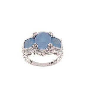 Judith Ripka Sterling Blue Jade & Diamonique Ring